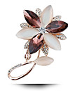 다이아몬드 오팔 크리스탈 브로치 행복 꽃