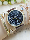 아가씨들 패션 시계 팔찌 시계 크로노그래프 석영 PU 밴드 워드 스타일 시계 블랙 화이트 브라운