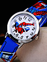 Kids\' New Cartoon Round Dial Spider-Man Pattern Leather Strap Quartz Watch (Assorted Colors)