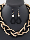 European Style Concise Fashion Metal Braided Necklace Earrings Set