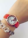 reloj analogico estilo de la moda del cuero del corazon del diamante de cuarzo banda de la mujer