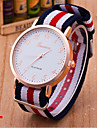 Woman And Man Striped Canvas Nylon Strap Wrist  Watch Cool Watches Unique Watches