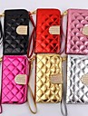 For iPhone 5 Case Wallet / Card Holder / Rhinestone / with Stand / Flip Case Full Body Case Solid Color Hard PU Leather iPhone SE/5s/5