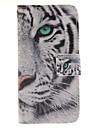 projeto do tigre branco pu couro caso de corpo inteiro com slot para cartao para Samsung Galaxy S7 / S7 borda