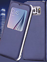 Для Samsung Galaxy S7 Edge с окошком / С функцией автовывода из режима сна / Флип Кейс для Чехол Кейс для Один цвет Искусственная кожа
