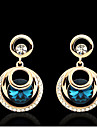 Women's Elegant AAA Zircon Crystal Drop Earrings for Wedding Party, Fine Jewelry,Dark BlueImitation Diamond Birthstone