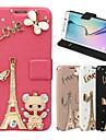 Pour Samsung Galaxy Coque Porte Carte Strass Avec Support Clapet Coque Coque Integrale Coque Tour Eiffel Cuir PU pour SamsungJ7 J5 J1