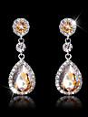 Women's Elegant Water Shape AAA Zircon Crystal Drop Earrings for Wedding Party, Fine JewelryImitation Diamond Birthstone