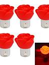 JIAWEN 1W Rose Shape 80lm Red LED Small Night Light (5PCS / AC 220V)
