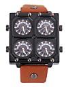 Men\'s Military Fashion Four Time Zones Black Leather Band Quartz Watch Wrist Watch Cool Watch Unique Watch