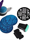 8 Nail Plates +1 Stamper + 1 Scraper + 1Pack Bag Nail Art Image Stamp Stamping Plates Manicure Template Nail Art Tools
