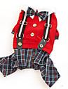 Dog Clothes/Jumpsuit Red / Gray Dog Clothes Winter / Spring/Fall Plaid/Check Fashion / Wedding / Christmas