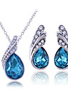 Ensemble de bijoux Argent sterling Zircon Gemme Strass Goutte Blanc Violet Bleu Collier / Boucles d\'oreillesMariage Soiree Anniversaire