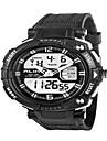 Hommes Bracelet Montre Quartz LED / Calendrier / Chronographe / Etanche / Double Fuseaux Horaires / penggera PU Bande Noir Marque-