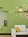 aw3017B Owls Christmas Wall Stickers Home Decoration Bedroom Animals Wall Decals Mural Cartoon
