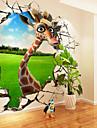 Animais / Desenho Animado Wall Stickers Autocolantes 3D para Parede,Canvas S M L XL XXL 3XL