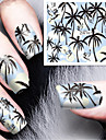 Fashion Printing Pattern Water Transfer Printing Coconut Tree  Beach Style Nail Stickers