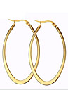 Women\'s Hoop Earrings Fashion Titanium Steel 18K gold Circle Oval Jewelry For Party Daily Casual