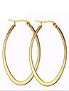 Femme Boucles d\'oreille gitane Mode Acier au titane 18K or Forme de Cercle Forme Ovale Bijoux Pour Soiree Quotidien Decontracte