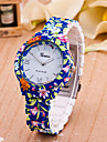 Women\'s Fashion Watch Quartz Plastic Band Flower Blue