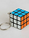 Smooth Speed Cube 3*3*3 With Keychain Magic Cube Red PVC / Plastic