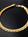 u7® мужская высокое качество 18k коренастый золота заполнены Фигаро цепочка браслет для мужчин и женщин 6мм 21 см