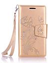 Pour Samsung Galaxy Coque Porte Carte Portefeuille Strass Avec Support Clapet Coque Coque Integrale Coque Fleur Flexible Cuir PU pour