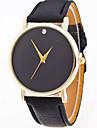여자 / 여자의 간단한 순수한 컬러 케이스 가죽 밴드 아날로그 쿼츠 시계