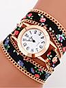 Women\'s Watch Bohemian Style Flower Leather Band Anlog Quartz Bracelet Fashion Watch
