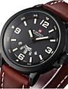 Hombre Reloj Militar Cuarzo Japones Calendario Piel Banda Casual Negro / Marron Marca