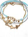 Light Blue Fabric Gold Chain Love Wrap Charm Bracelet Jewelry