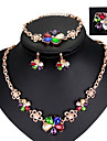 mulheres moda festa multicolor diaria bloco cor cristal liga de colar brincos aneis pulseira cadeia de conjuntos de joias