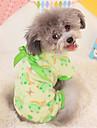 Cachorro Pijamas Roupas para Caes Fofo Casual Desenhos Animados Amarelo Verde Rosa claro