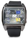 Oulm Мужской Армейские часы С тремя часовыми поясами Кварцевый Японский кварц Кожа Группа Cool Люкс Черный Коричневый