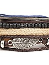 Men\'s Leather Bracelet Wrap Bracelet Punk Personalized Multi Layer Leather Alloy Round Wings / Feather Brown Jewelry ForDaily Casual