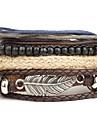 Homme Bracelets en cuir Bracelets Style Punk Personnalise Multicouches bijoux de fantaisie Cuir Alliage Forme Ronde Ailes / Plume Bijoux