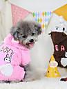 강아지 후드 점프 수트 강아지 의류 따뜻함 유지 만화 커피 핑크