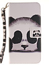 Painted panda Pattern Card Can Lanyard PU Phone Case For Samsung Galaxy Note 4 5 7
