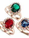 Массивные кольца Мода Циркон Сплав Красный Зеленый Синий Бижутерия Для Свадьба Для вечеринок День рождения 1шт