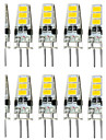 10PCS 1.5W G4 6SMD 5733 DC12V 150-200LM Warm White/White Decorative /WaterproofLED Bi-pin Lights