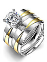 Women\'s Men\'s Ring Cubic Zirconia Unique Design Double-layer StainlessSteel Round Jewelry For Wedding Party Office/Career Daily