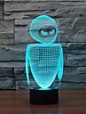 robot toque oscurecimiento 3d llevo la luz de la noche de la lampara de la decoracion ambiente 7colorful de iluminacion novedoso luz de la