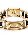 Homens Pulseiras em Correntes e Ligacoes Moda Aco Inoxidavel Chapeado Dourado 18K ouro Forma Geometrica Joias ParaFesta Halloween Diario