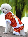 Dog Coat Clothes/Jumpsuit Dog Clothes Winter Spring/Fall Embroidered Fashion Holiday New Year\'s Yellow Red Blue