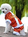 개 코트 점프 수트 강아지 의류 겨울 모든계절/가을 자수 장식 휴일 패션 새해 옐로우 레드 블루