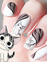 Water Transfer Printing Cartoon kitten Pattern Nail Stickers