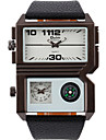 Oulm 남성 손목 시계 Compass 듀얼 타임 존 석영 PU 밴드 멋진 캐쥬얼 블랙 화이트 브라운