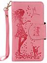 Pour lg k10 k8 pu materiel en cuir motif femme et chat en relief 9 cassettes avec etui miroir pour k7 nexus 5x