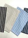 Square Striped Placemat , Linen Material Table Decoration 4