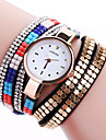 Women\'s Fashion Watch Wrist watch Bracelet Watch Punk Colorful Imitation Diamond Quartz PU Band Sparkle Bohemian Charm Bangle Casual